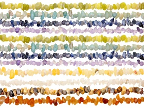 "Chip Strand Set/12 incl Calcite, Agate, Quartz, Light Amethyst, Serpentine &Quartzite Appx 34-36"" Ea"