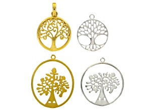 Tree Of Life Pendant Set Of 4 in Silver Tone And Gold Tone