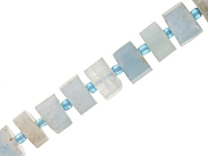 Aquamarine Appx 5-6x10mm Faceted Wheel Bead Strand Appx 15-16