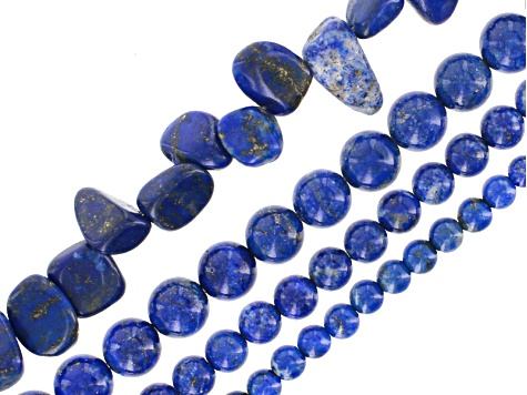 Lapis Lazuli Round appx 4, 6 & 8mm & Pear Nuggets appx 7x8-9x17mm Bead Strand Set of 4 appx 15-16