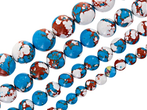 Blue Multi-Color Calsilica Bead Strand Set/4 incl 6, 8, 10 &12mm Round Bead Strands Appx 15-16