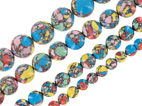 Rainbow Calsilica Bead Strand Set/4 incl 6, 8, 10 & 12mm Round Bead Strands Appx 15-16