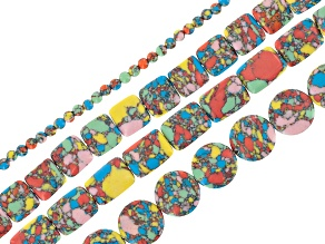Rainbow Calsilica Bead Strand Set/4 incl Round, Square, Coin & Rectangle Shapes Appx 15-16