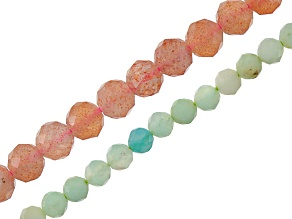 Chrysoprase And Sunstone Rondelle Bead Strands Set Of 2 16 inch