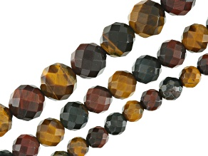 Multi-Color Tigers Eye & Hawks Eye Faceted Round in appx 6, 8 & 10mm Bead Strand Set of 3 app 15-16