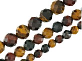 Multi-Color Tigers Eye & Hawks Eye Faceted Round in appx 6, 8 & 10mm Bead Strand Set of 3 app 15-16""