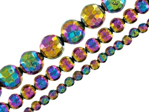 Rainbow Pyrite Bead Strand Set/3 incl 4,6&10mm Faceted Round Beads Appx 16