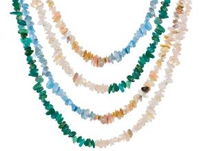Morganite, Aquamarine, Pink Opal & Amazonite Endless Chip Strand Set/4 Appx 36