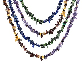 Lapis, Charoite, Ruby in Zoisite & Mookaite Endless Chip Strand Set/4 Appx 36