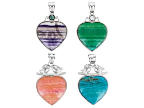 Love Bird & Heart Frame Inlay Pendant Set/4 In Fluorite And Various Color Aragonite