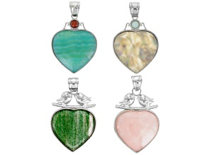 Heart Inlay Pendant Set/4 In abalone doublet, Green fire glass, Blue Aragonite & Rose Quartz