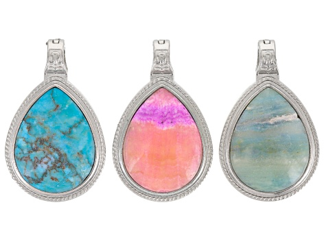 Magnetic Pear Shape Drop Pendant Set/3 In Silver Tone Incl Pink Aragonite, Turq Color Calcite&Marble