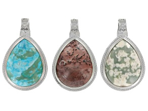 Magnetic Oval Drop Pendant Set/3 In Silver Tone Incl Assorted Jasper In Various Colors