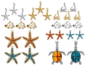 Under The Sea Charm & Pendant Set 27 Pieces Total in Assorted Shapes, Sizes & Colors