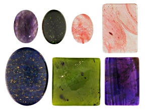 Cabochon Set/7 in Assorted Shapes&Sizes incl Amethyst,Lapis,Serpentine,Green Goldstone&Cherry Glass