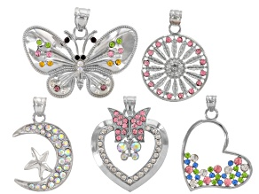 Pendant Set of 5 Pieces in Silver Tone Assorted Shapes With Multi-Color Glass Crystals