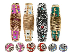 Hand Made Ornamental Bead Set Of 10 Beads in Assorted Styles