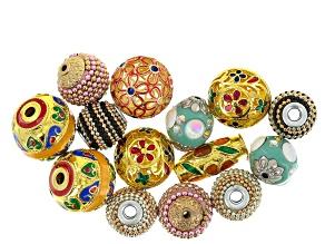 Enamel & Metal Ornamental Bead Set Of 14 in Assorted Styles