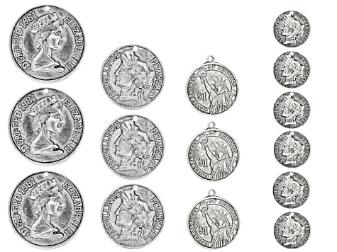 International Coin inspired Focal Set Of 15 Pieces in Assorted Styles