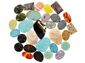 Cabochon Assorted Stone 1lb Mix in Various Shapes, Colors & Sizes