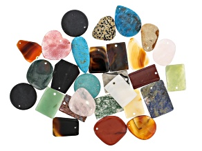 Pendant Assorted Natural & Man-Made Stones 1lb Mix In Various Shapes, Colors & Sizes