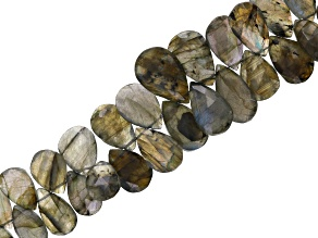 Labradorite Appx 8x12mm-13x21mm Graduated Faceted Pear Shape Bead Strand Appx 7