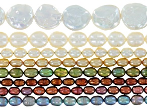 Cultured Freshwater Pearl Strand Set of 8 in Assorted Shapes, Colors & Sizes Appx 15-16