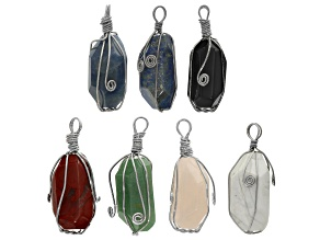 Faceted Gemstone Oval Pendant Set/7 in Silver Tone & Assorted Stones