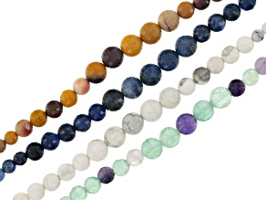 Graduated Faceted Round Bead Strand Set/4 incl Sodalite, Mookaite, Howlite & Fluorite Appx 6-10mm