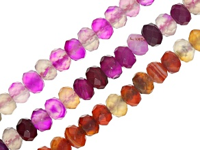 Agate Bead Strand Set/3 5-6mm Faceted Rondelle Beads In Orange & Magenta