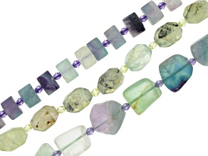 Prehnite & Multi-Color Fluorite Bead Strands Set of 3 In Assorted Shapes & Sizes appx 15-16""