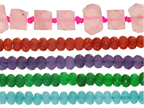 Quartzite 8mm Fac Rondelle Bead Strand In Assorted Colors & nugget strand in pink set/5 Appx 15-16