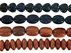 Goldstone Bead Strand Set/4 in Blue & Brown Assorted Shapes Appx 15-16