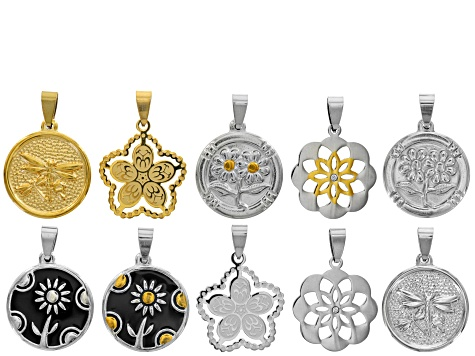 Floral Coin Pendant Set/10 in Mixed Silver Tone & Gold Tone Assorted Styles