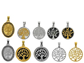 Tree Of Life Coin Pendant Set/10 in Mixed Silver Tone & Gold Tone Assorted Styles
