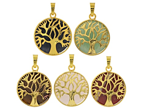 ee88882193040 Tree Of Life Gemstone Coin Pendant Set/5 in Gold Tone With Assorted Stones