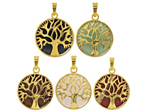 Tree Of Life Gemstone Coin Pendant Set/5 in Gold Tone With Assorted Stones