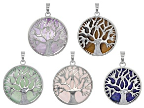 Tree Of Life Gemstone Coin Pendant Set/5 in Silver Tone With Assorted Stones