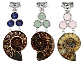 Ammonite 3-Stone Pendant Set/3 incl Rose Quartz, Green Aventurine & Lapis