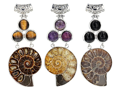 Ammonite 3-Stone Pendant Set of 3 In Tiger's Eye, Amethyst & Black Agate Set in Silver Tone Base