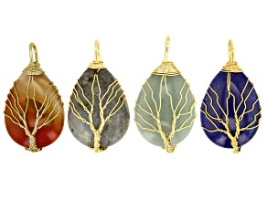Assorted Gemstone Tree Of Life Pear Shape Pendant Set of 4 In Gold Tone