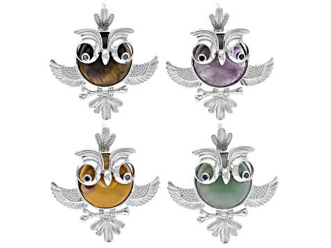 Owl Gemstone Pendant Set4 In Silver Tone W Mookaite Tigers Eye