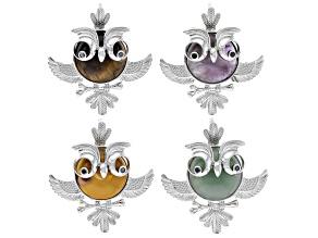 Owl Gemstone Pendant Set/4 in Silver Tone W/ Mookaite, Tiger's Eye, Amethyst & Green Quartzite