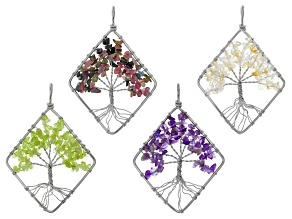 Tree Of Life Diamond Shape Chip Pendant Set/4 in Silver Tone & Assorted Gemstones