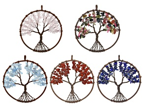 Tree Of Life Round Chip Pendant Set/5 in Bronze Tone & Assorted Gemstones