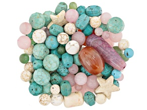 1lb Assorted Bag Of Beads in Various Shapes, Colors & Sizes