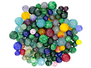 1/2 Lb Bag Of Round Faceted Quartzite Beads In Assorted Colors & Sizes