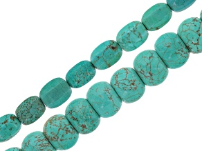 Blue Magnesite Faceted Tumble Bead Strand Set/2 in Assorted Sizes Appx 15-16
