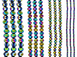 Rainbow Chinese Crystal Glass Set/12 Faceted Rondelle Bead Strands appx 15-16