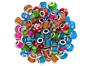 Venetian Style Glass Bead Bag Incl 84 Pcs Total In 6 Colors